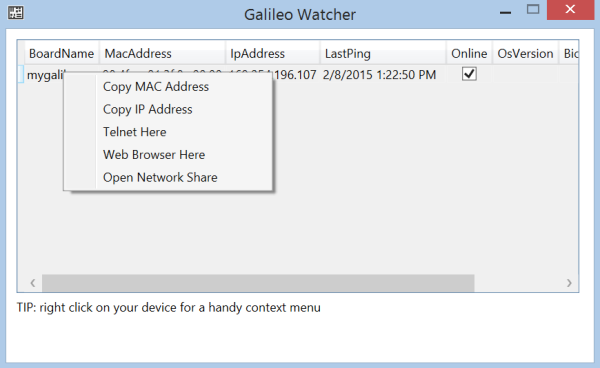 Menu contextual Galileo Watcher