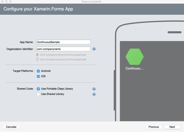 Nuevo proyecto Xamarin.Forms