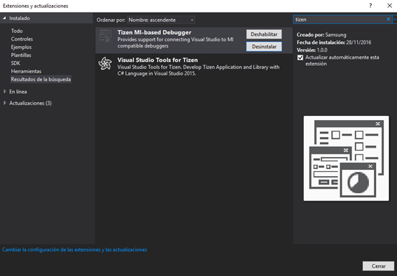 Extensiones Tizen en Visual Studio